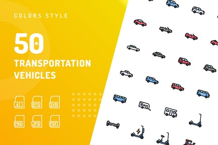 Transportation Vehicles Color Icons