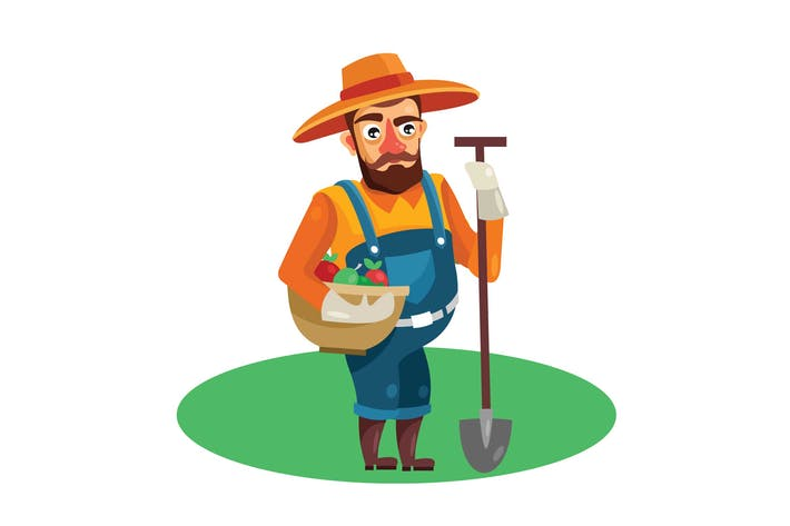 Thumbnail for Farmer in Field Vector Illustration