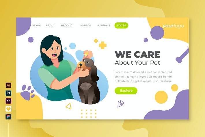 We Care Your Pet - Vector Landing Page Vol.3