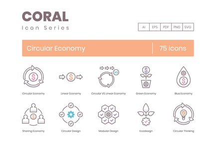 75 Circular Economy Line Icons