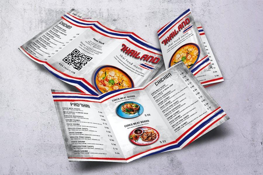 Thai Cuisine Trifold A4 & US Letter Food Menu