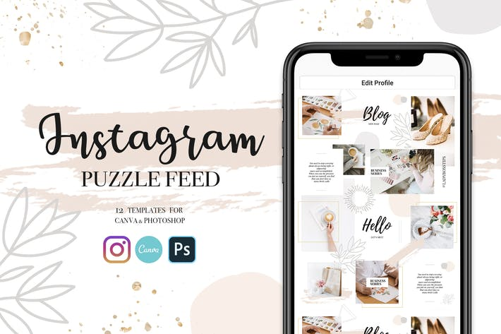 Thumbnail for Instagram Feed Puzzle Template Beige