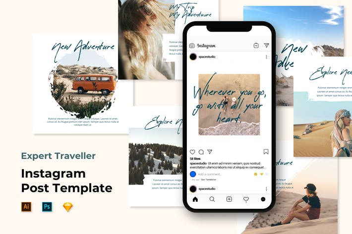 Thumbnail for Путешествия Instagram Post Feed Шаблоны - Кисть Стиль