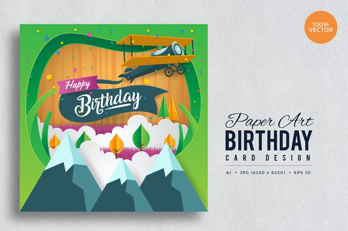 Thumbnail for Paper Art Happy Birthday Vector Card Vol.5