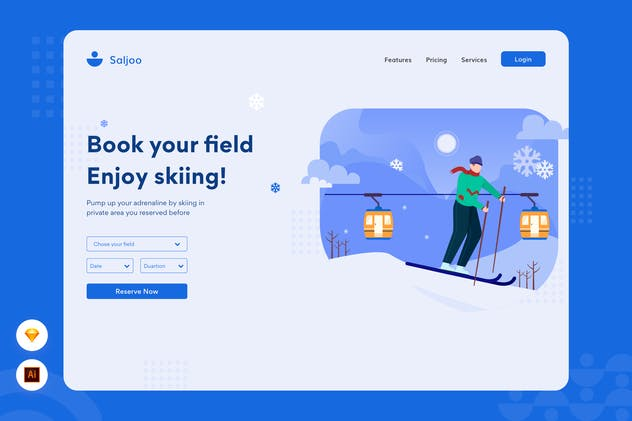 Enjoy Skiing - Website Header Illustration - product preview 0