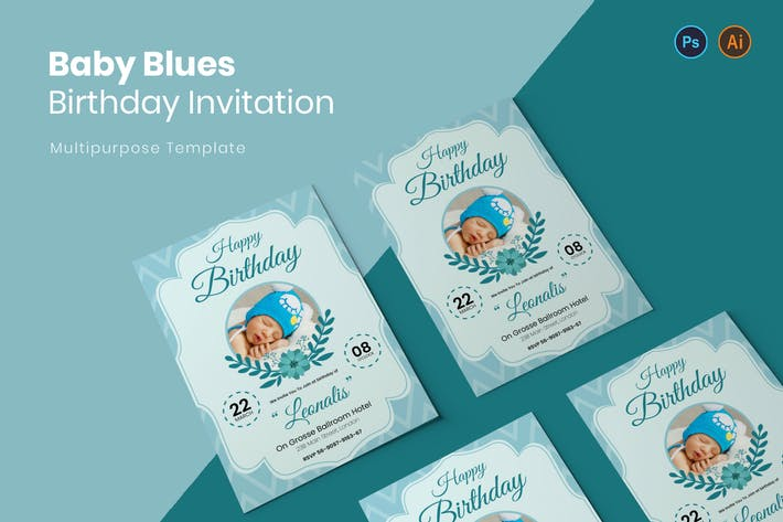 Thumbnail for Baby Blues Birthday Invitation