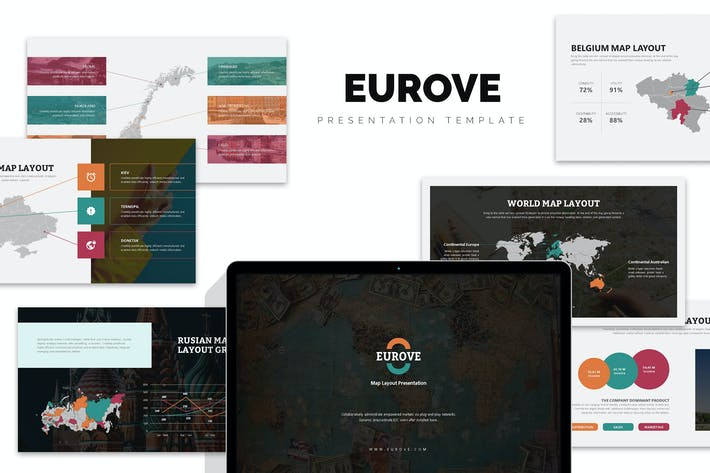Cover Image For Eurove : Europe Region Vector Map Google Slides