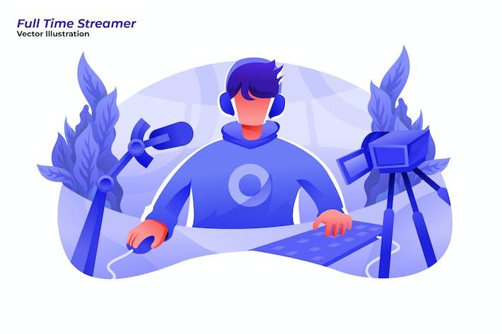 Thumbnail for Full Time Streamer- Vector Illustration