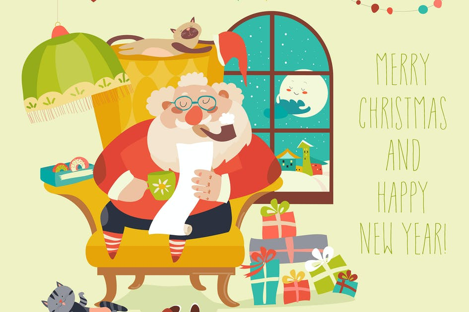 Download Santa Claus sitting in armchair and reading letter by masastarus
