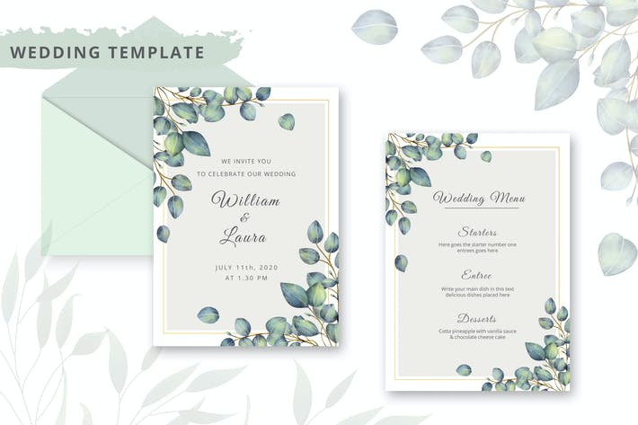 Thumbnail for Watercolor wedding invitation template