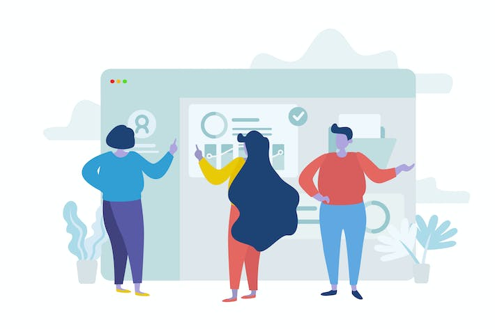 Thumbnail for Modern Group Flat Illustration