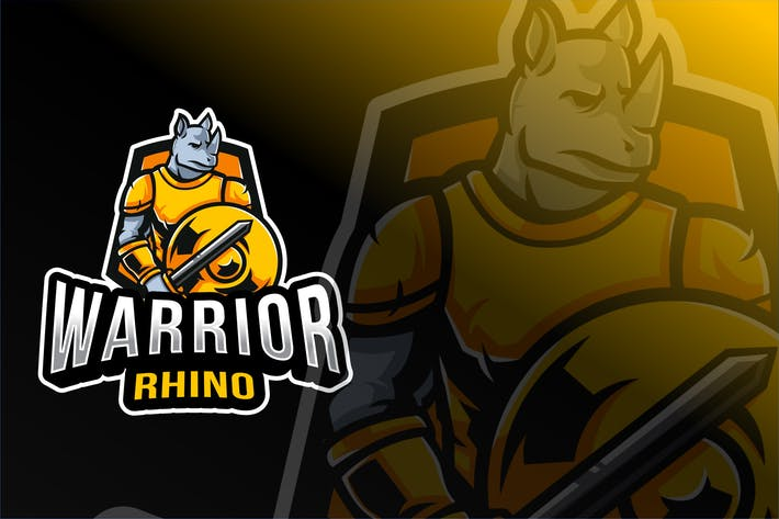 Thumbnail for Warrior Rhino Esport Logo Template