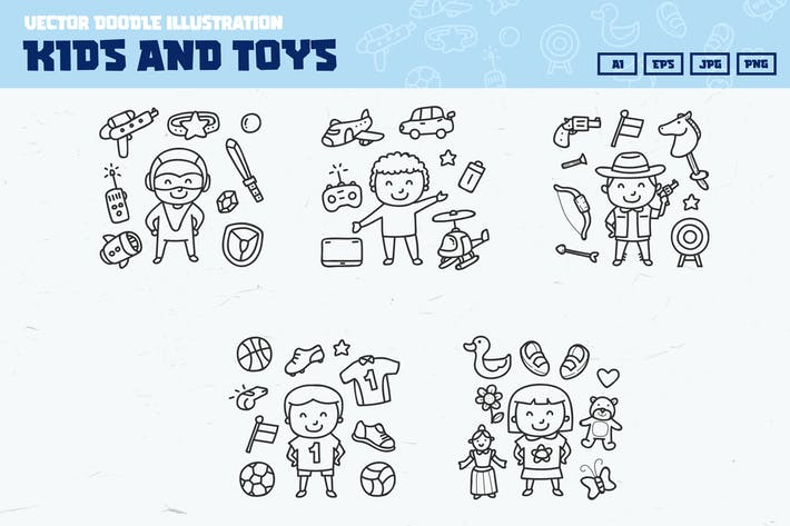 Thumbnail for Kids and toys doodle collection