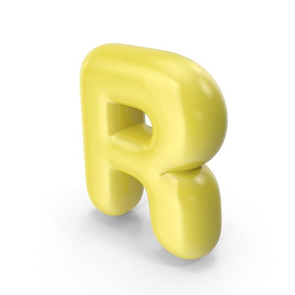 Желтый мультяшный шар буква R