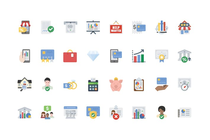Thumbnail for Business & Finance Flat Icons v2.0