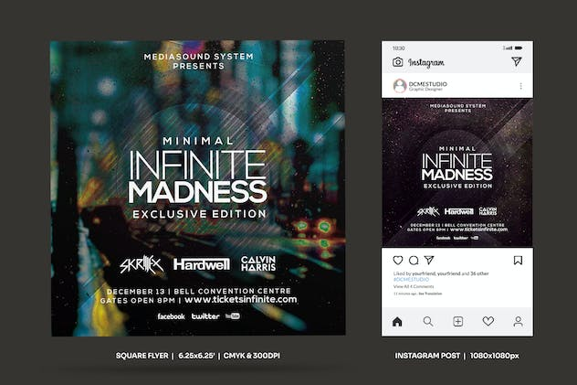Minimal Madness Square Flyer & Insta Post