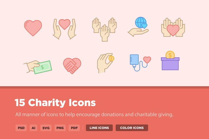 Cover Image For 15 Charity Icons