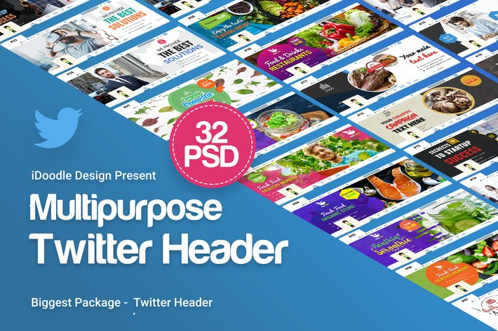 Thumbnail for Multipurpose Twitter Header - 32 PSD