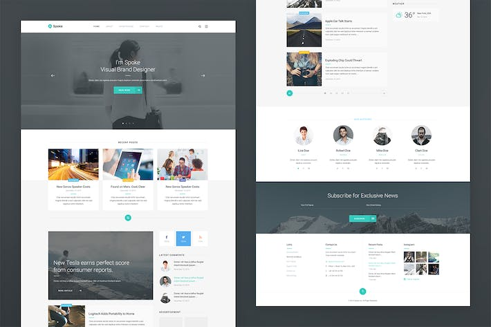 Thumbnail for Spoke — Blog PSD Template