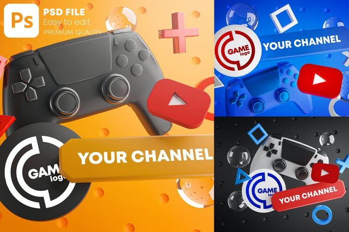 Thumbnail for Gaming Youtube Channel Logo Promotion Mockup Pack