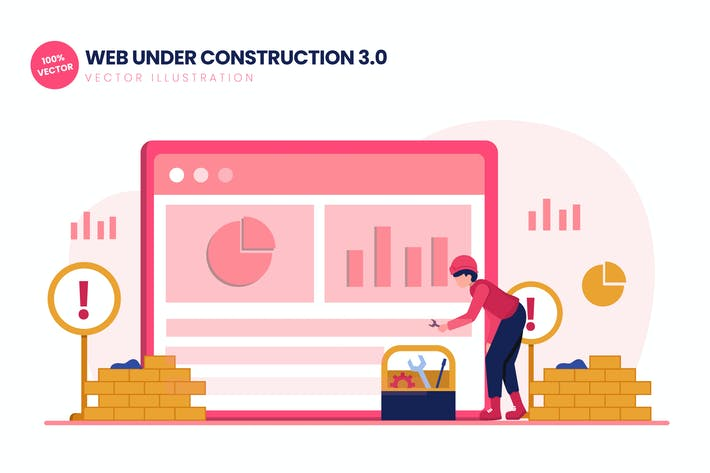 Thumbnail for Web Under Construction 03 Flat Vector Illustration