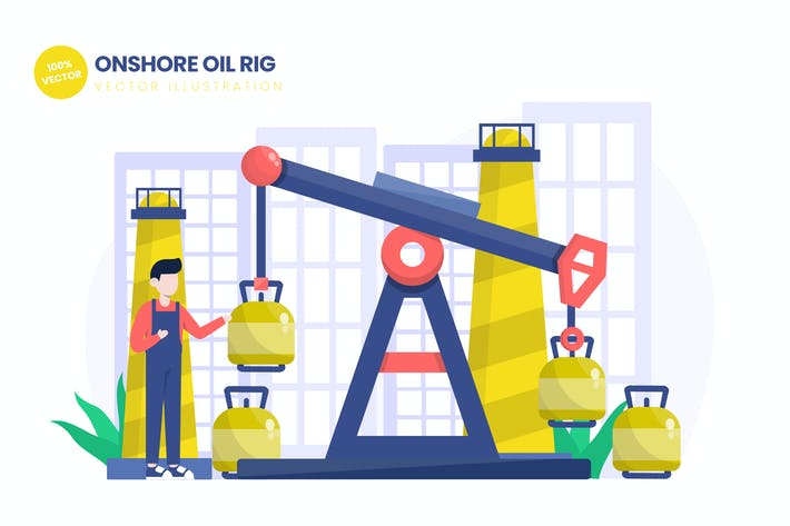 Thumbnail for Onshore Oil Rig Flat Vector Illustration