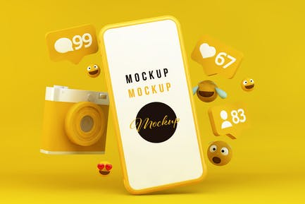 Yellow Smartphone with Notifications and Emoticons