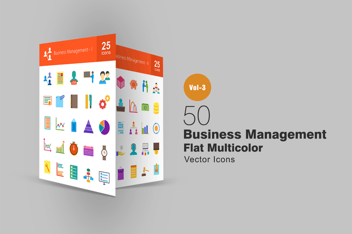Cover Image For 50 Business Management Flat Multicolor Icons