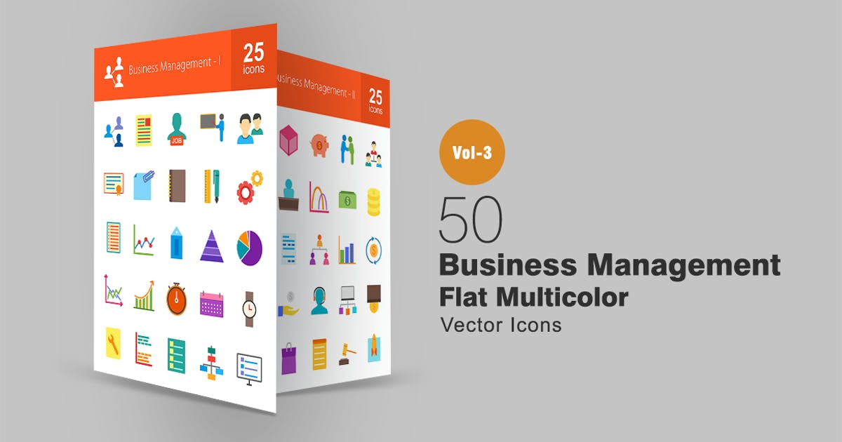 Download 50 Business Management Flat Multicolor Icons by IconBunny