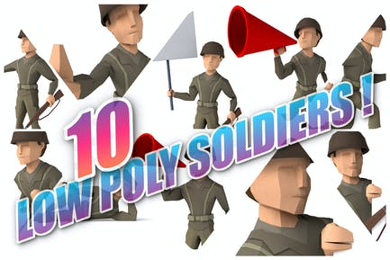 10 low poly Soldiers !