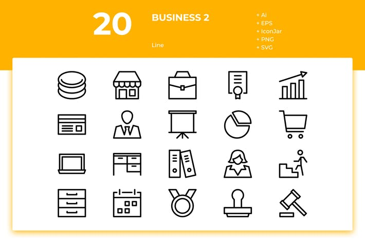 Thumbnail for 20 Business Icons Vol. 2 (Line)