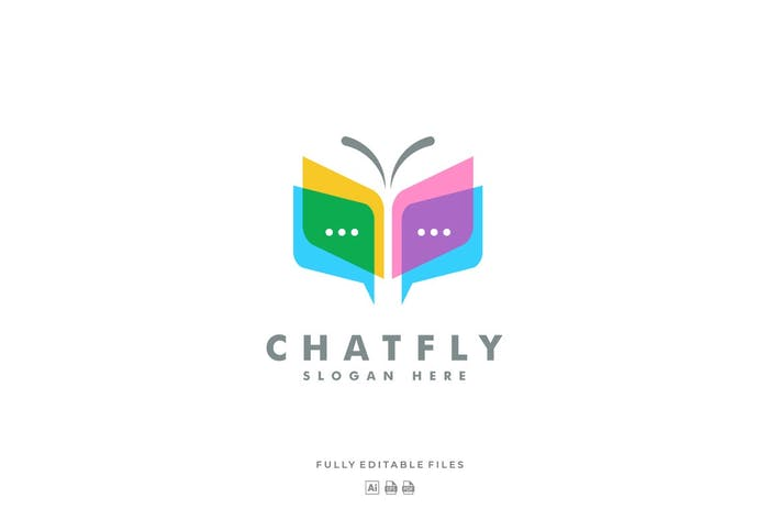 Thumbnail for Chat and Butterfly Colorful Logo Template