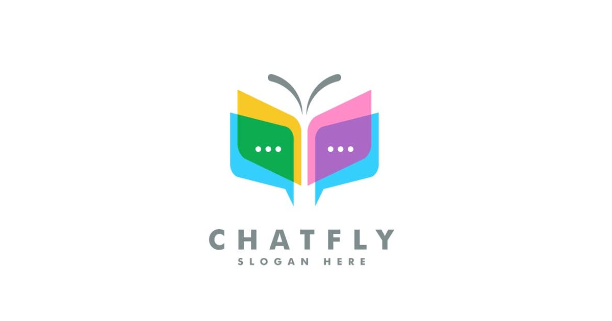 Download Chat and Butterfly Colorful Logo Template by ivan_artnivora