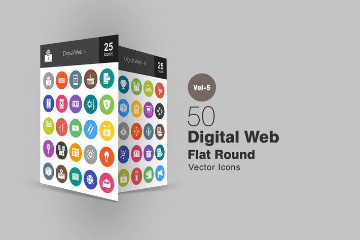 Thumbnail for 50 Digital Web Flat Round Icons