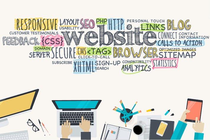 Thumbnail for Flat Design Konzept für Website-Entwicklung