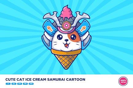 Cute Cat Ice Cream Samurai Cartoon