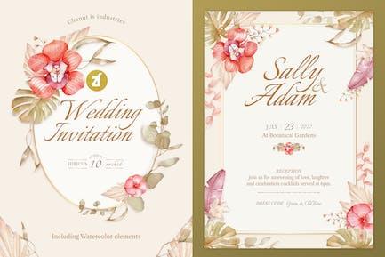 Hibicus orchid Watercolor Wedding Invitation