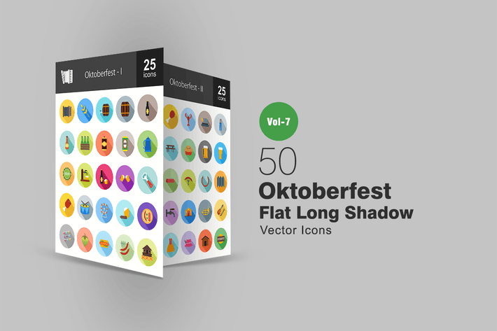 Thumbnail for 50 Oktoberfest Flat Shadowed Icons