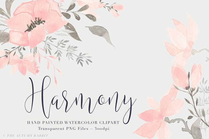 Thumbnail for Harmony - Watercolor Floral Clipart Set
