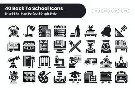 40 Zurück zu Schule Icons Set - Glyphe