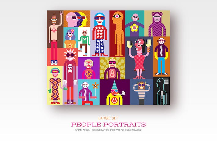 Thumbnail for People, set of flat style vector illustrations
