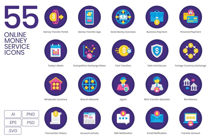 Thumbnail for 55 Online Money Service Icons | Orchid Series