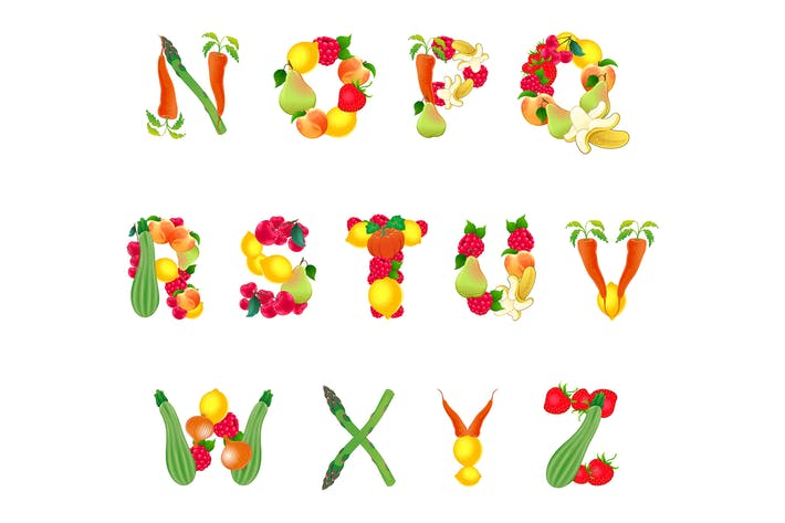 Thumbnail for Alphabet Composed by Fruits and Vegetables