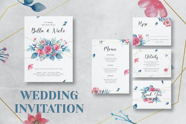 Thumbnail for Flower Wedding Invitation Set