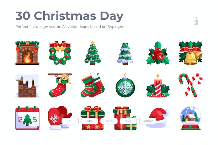 30 Christmas Day Icons - Flat
