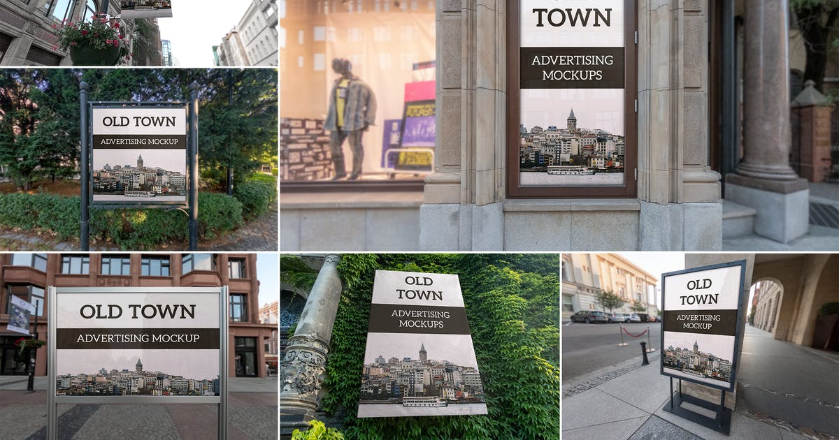 Download Old Town Advertising Mockups Vol. 1 by MintMockups