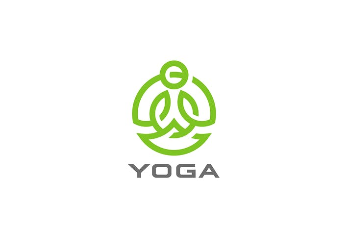 Thumbnail for Yoga Logo abstract design sitting Lotus pose