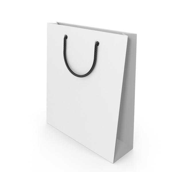 Белая упаковочная сумка с черными ручками