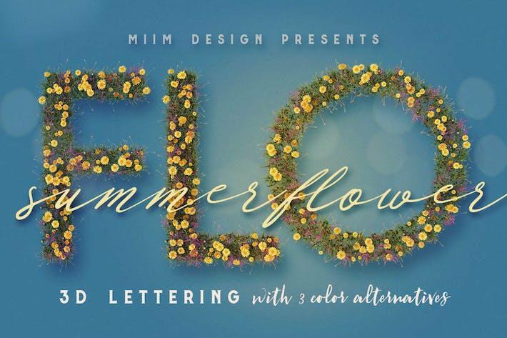 Thumbnail for Summer Flower - 3D Lettering