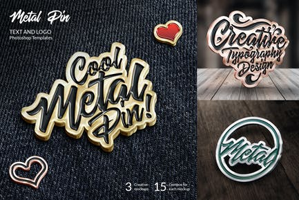 Metal Pin – Text and Logo Mockups